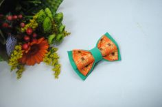 Embroidered green orange men's bowtie Sunflower pattern Pretied bow tie Groomsman bow tie bowtie men bow tie women bow tie unisex gifts Kids by accessories482 on Etsy