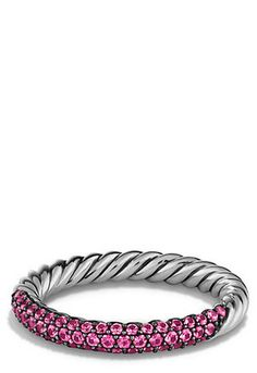 Petite Pavé Ring with Pink Sapphires