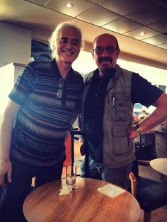 Jimmy Page and Ian Anderson of Jethro Tull at Gatwick Airport, London July 17, 2014. They spoke for an hour....