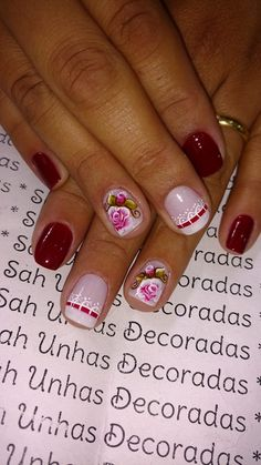 76 Modelos Lindos de Francesinhas com Flores! Veja: Manicure E Pedicure, Spring Nails, Beauty, Work Nails, Enamels, Party, Templates, Gold Nails, Nail Decorations