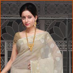 Light Cream Bengal Handloom Cotton Tant Saree With Blouse