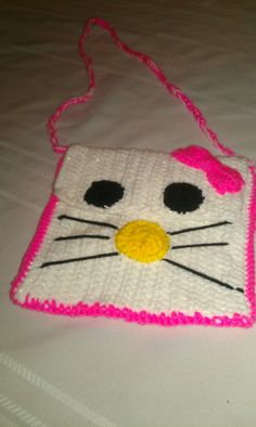 Hello Kitty crochet purse white with sparkle by audrinascloset 3d8dcec8be4a
