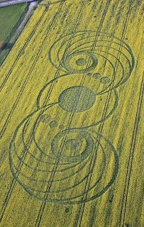 Crop Circle Inspiration: central fire-pit, pond or umbrella patio, stepping stones, and spiraling planters.