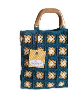 Crochet bag - Green saffron yellow cream wool granny square tote bag, knit bag, , women handbag