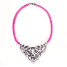 #r29summerstyle   Neon Pink Joshi Necklace. Available in Neon Yellow too. $250. Get 50% off from R29 Shops here: www.refinery29.co...