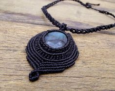 Macrame Pendant and Necklace in Labradorite