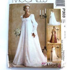 Renaissance Bridal Gown Sewing Pattern, Princess Dress, Medieval Costume, Empire Waist, Bodice Overskirt, McCalls P303, Size 14 16 18. $22.75, via Etsy.