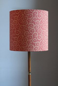 A tall drum shade in red Foxwood Foxy fabric - perfect for a standard lamp. Standard Lamps, Fabric Shades, Drum Shade, Lampshades, Simple Way, Victorian, Interior Design, Lighting, Handmade