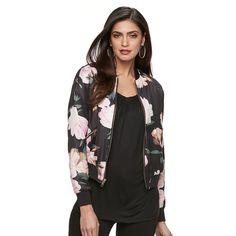Women's Jennifer Lopez Floral Bomber Jacket, Size: XS, Black
