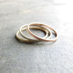 Ombre Set of Three Gold Stacking Rings - Solid Rose, Yellow, & White Gold - Thin, Flat Bands, Matte or Polished - Stacking Wedding Rings Matching Wedding Band Sets, Solid Gold, White Gold, Stacked Wedding Rings, Stacking Rings, Gold Bands, Gold Jewelry, Just For You, Rose Gold
