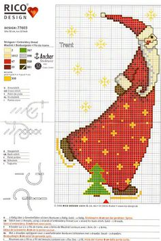 Ponto Cruz - Natal Santa skating Needlepoint Patterns, Counted Cross Stitch Patterns, Cross Stitch Charts, Cross Stitch Designs, Cross Stitch Embroidery, Embroidery Patterns, Christmas Charts, Christmas Cross, Santa Cross Stitch