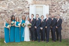 full bridal party featuring gorgeous teal bridesmaid dresses | Ashley Gerrity Photography | John James Audubon Center Wedding