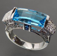 14K WHITE GOLD FANCY CUT BLUE TOPAZ SAPPHIRES & 1.40 CTW DIAMONDS COCKTAIL RING - SIZE 6.75