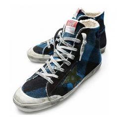 Basket Golden Goose Slide high Heel Top Sneaker Femme Bleu Vert - GGDB Femme