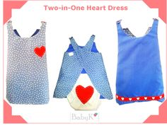BabyK Two-in-One dresses. These dresses are reversible. Two for the price of one! Cute Little Baby, Little Babies, Heart Dress, Girls, Color, Dresses, Design, Fashion, Toddler Girls