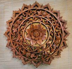 Bali Carved Lotus Flower Round Wood Panel Spiritual Healing Enlightenment Health