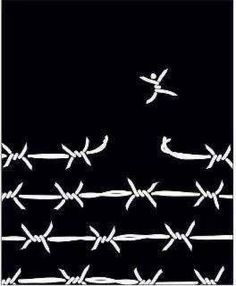 breaking free / barbed wire / digital illustration / black and white Political Art, Foto Art, Break Free, Grafik Design, Art Journals, Digital Illustration, Artsy, Black And White, Words