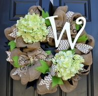 Burlap Monogram Wreath with Hydrangeas in Black White and Green