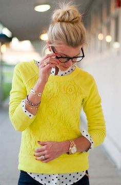 Cute yellow sweater and polka dot shirt
