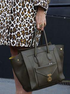 ee6cc45387ae7f celine bag Leopard Print Coat, Street Style Shoes, Celine Bag, Duffel Bag,