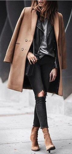 #winter #fashion / Camel Coat + Destroyed Skinny Jeans