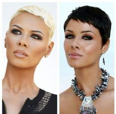 Image result for blonde to brunette pixie