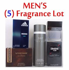 $54.99 Men's Fragrance 5 PC Lot ALL NEW McGraw Perry Ellis Guess Drakkar Noir Adidas  #TimMcGraw #PerryEllis #cologne #fragrance
