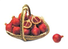 Dollhouse Miniature Basket of Pomegranates - Handmade 1:12 scale
