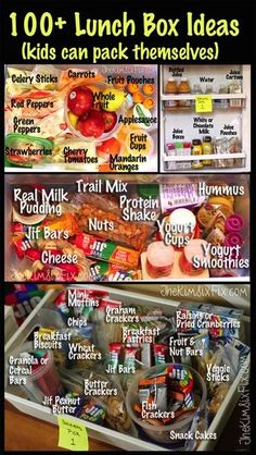 Seriously the best lunch box Ideas I've seen, especially for my three picky eaters! 100  Lunch Box Ideas That Kids Can Pack Themselves via www.TheKimSixFix.com