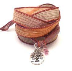 Hand Dyed Silk Ribbon Wrap Bracelet $32.00 #brigteam #gift #jewelry