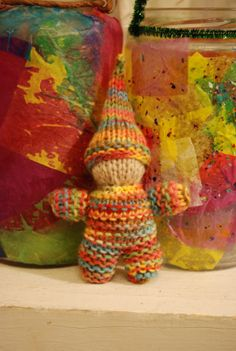 knitted rainbow gnome