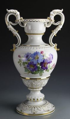 Meissen Porcelain Vase - Tall Neck with Extended Ears In A Botanical Form, Full Body On High Footed Base, Decorated With Golden Floral Design And Purple Flowers