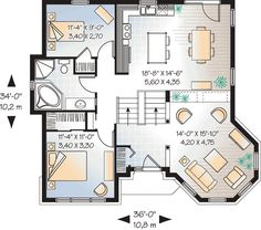 Country Traditional Victorian House Plan 65439 Level One