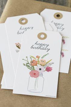 Free printable birthday gift tags. http://livelaughrowe.com/printable-birthday-gift-tags/