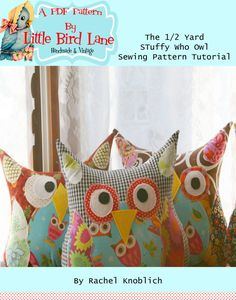 Instant Download Treasury Item PATTERN The 1/2 Yard Stuffy WHO Plush Owl Pillow Sewing Pattern on Etsy, $5.00
