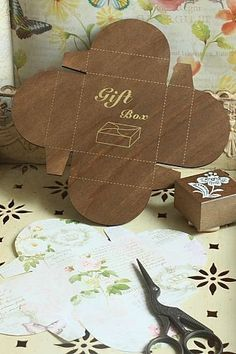 zakka Lettre D'Amour SQUARE Gift Box template craft pattern DIY treat favour box | eBay