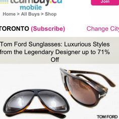 Deal Alert: Teambuy.ca Tom Ford Sunglasses Luxurious Styles from the Legendary Designer up to 71% Off. Happy Shopping! #deal #alert #tomford #sunglasses #luxurious #legendary #designer # happy #shopping #sale #budget