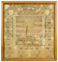 AAAWT Main House Antiques Galleries - Family Record, Needlework, Comstock, Quakers Central Massachusetts Wrought by Anna Comstock, 1830, Aged 10, Mendon, MA Father: James Comstock, Born, Providence, RI, 1793 Mother: Catherine Farnum, Born, Uxbridge, MA, 1793