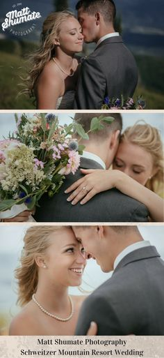 Matt Shumate Photography was the amazing photographer at this Schweitzer Mountain Resort Summer Wedding. Beautiful Bride and Groom unclose romantic portraits on the mountain top with wild flowers flower bouquet, bride wearing  pearls and her wedding ring