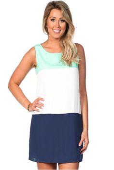 Mint Tri-Colored Shift Dress