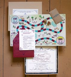 """The groom had proposed by slipping a note into one of their favorite board games, explains Johnson. """"We carried that theme into the next chapter of their story, playfully asking their guests to join them in their personal Game of Life."""" The invitation came with custom dice and game pieces tucked into an envelope."""