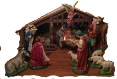 Large Complete Nativity Sceene with Stable and Manger Ceramic 13 inch figurines Beautiful 21 piece set