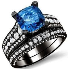 3.30ct Cushion Cut Blue Sapphire And Diamond Engagement Ring Bridal Set 18k Black Gold / Front Jewelers