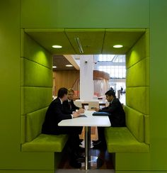 Macquarie's 3,000 employees now work in an open and highly flexible space where, for example, in the 10-storey atrium, 26 various kinds of 'meeting pods' create a feel of 'celebration of collaboration' and contribute to openness and transparency.http://www.thecoolhunter.net/offices/10