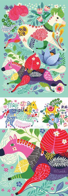 orange you lucky!: Wild Horses Birthday Card for Roger la Borde . . .