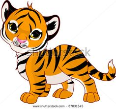 Image of walking cute baby tiger - stock vector