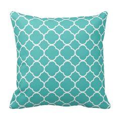 Teal blue Moroccan Quatrefoil Oriental chic Pillow