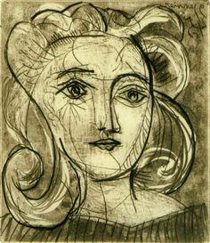 Pablo Picasso. Tête de femme (Françoise Gilot) 3. 1945 year