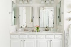 White Double Washstand with Pottery Barn Kensington Mirrors - Transitional - Bathroom - Behr Silver Drop Vermont, Bathroom Mirror Lights, Bathroom Lighting, Hanging Mirrors, Vanity Mirrors, Round Mirrors, Chic Bathrooms, Amazing Bathrooms, Pottery Barn Bathroom