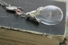 Dandelion Seed Necklace, Wish Necklace, Dandelion Necklace, Real Flower Jewelry, Mothers Day Gift, Glass Bottle Necklace, Glass Teardrop